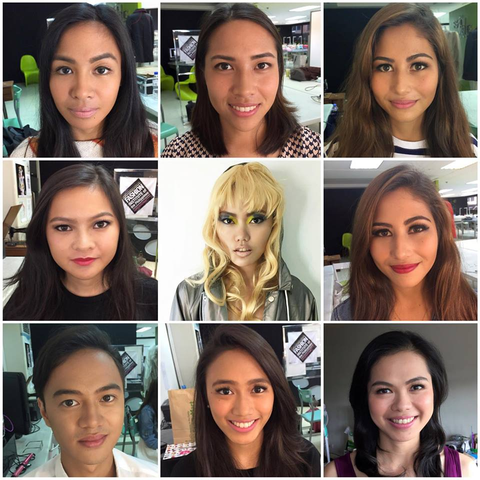 A collage of makeup looks from my Fashion Makeup classes at Fashion Institute of the Philippines April to June 2015